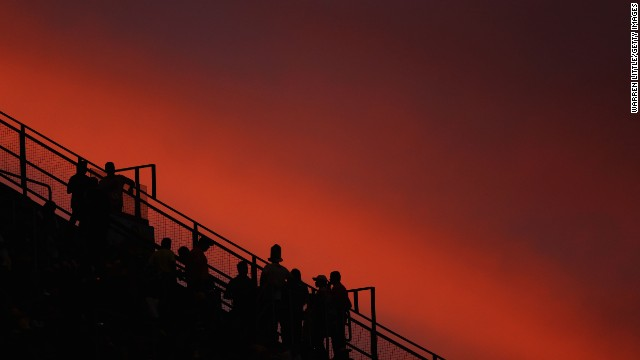 Fans look on from the stands before the match between Russia and South Korea.
