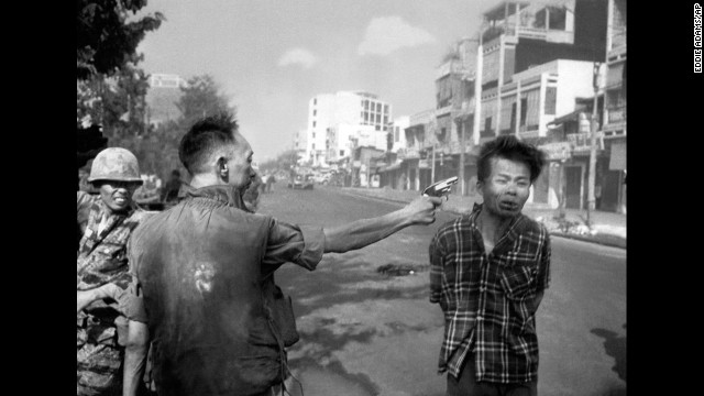 "Eddie Adams photographed South Vietnamese police chief Gen. Nguyen Ngoc Loan killing Viet Cong suspect Nguyen Van Lem in Saigon in 1968. Adams later regretted the impact of the Pulitzer Prize-winning image, apologizing to Gen. Nguyen and his family. ""I'm not saying what he did was right,"" <a href='http://content.time.com/time/magazine/article/0,9171,988783,00.html' target='_blank'>Adams wrote in Time magazine</a>, ""but you have to put yourself in his position."""