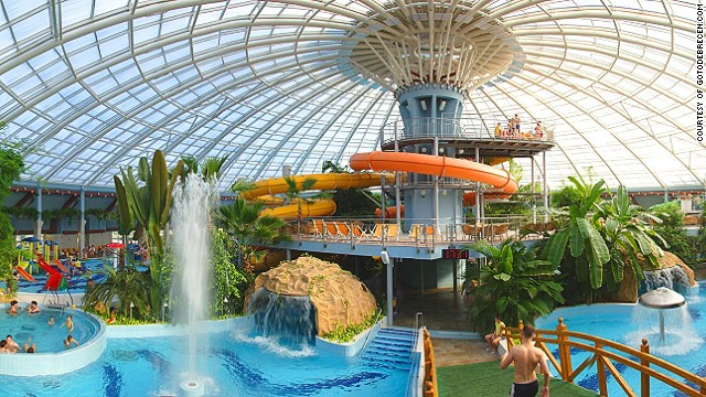 In a forest just outside Debrecen, the venue of this year's Hungarian National Water-Chute Championships is also home to a popular thermal spa.
