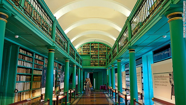 At the heart of this student city is a beautiful library with more than half a million books set amid serene green colonnades and soaring galleries.