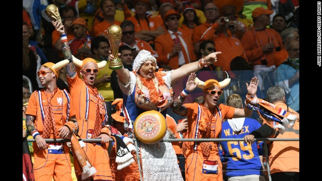 Netherlands supporters cheer in the stands prior to the match.