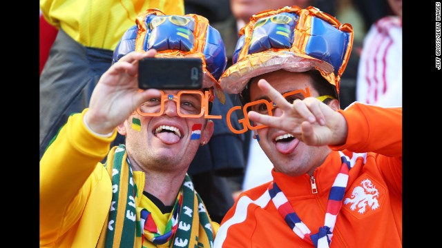 Fans take a selfie before the match. See the best World Cup photos from June 17.
