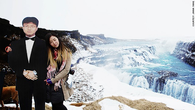 To cope with her grief after his death, New Yorker Jinna Yang took a life-sized cutout of her father on a trip he'd dreamed of making. The dad-daughter team posed for shots across Europe, including Gullfoss Waterfall in Iceland (pictured).