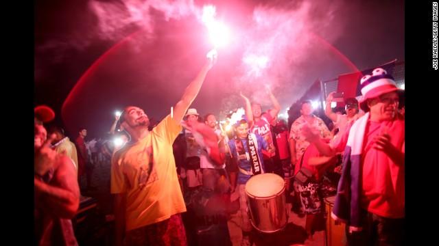 Chilean fans celebrate in Rio de Janeiro.