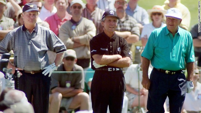 Player is flanked by fellow legends Jack Nicklaus (left) and Arnold Palmer at the 2000 U.S. Masters. The trio were called the 'Big Three' for their dominant performances.