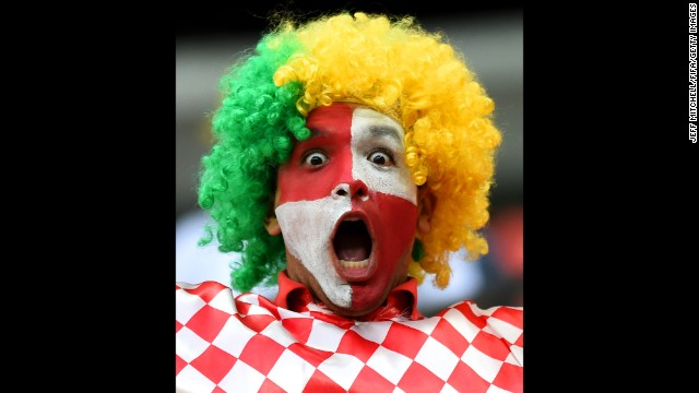 A Croatia fan enjoys the atmosphere.