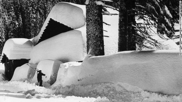 While the valley doesn't usually have enough snow for skiing during the winter, there's proof it has happened: A skier heads in from the Yosemite Valley on December 13, 1945. <a href='http://www.nps.gov/yose/planyourvisit/wintersports.htm' target='_blank'>The valley </a>does have a winter ice rink dating back to the 1930s, and the Badger Pass ski area is home to the state's oldest downhill skiing area.