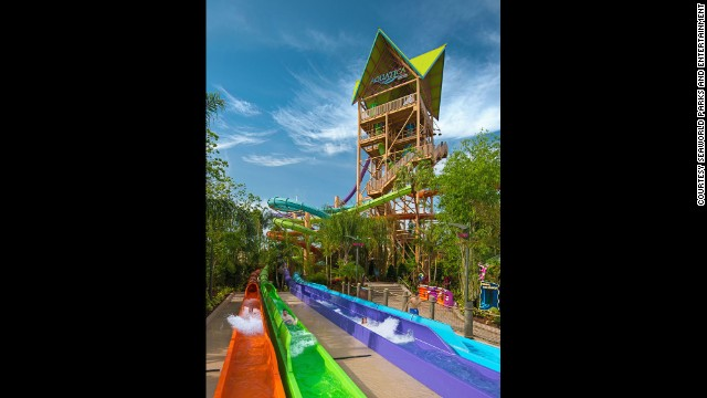 Ihu's Breakaway Falls is the newest thrill ride at Aquatica, SeaWorld's Waterpark, the third most popular water park in the United States. The park claims its new drop slide is the steepest and only multidrop tower slide of its kind in Orlando.
