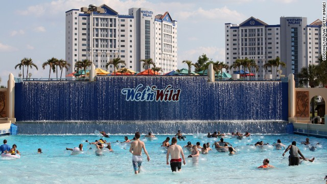 The Surf Lagoon looks tame from afar but the Orlando Wet 'n Wild park attraction actually features 4-foot waves in a 17,000 square-foot wave pool. Wet 'n Wild in Orlando was the fourth most visited water park in the United States in 2013, with 1.3 million visitors.