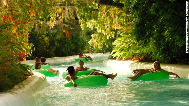 Take a break from the thrill rides of Adventure Island in Tampa, Florida, to relax on the Rambling Bayou ride (shown here). This half-mile tube ride tours a rain forest at the seventh most popular water park in the United States in 2013.