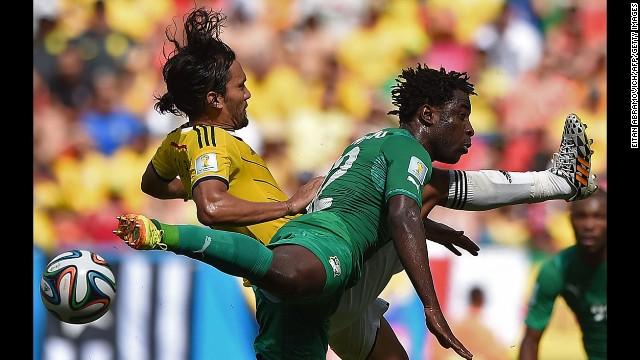Aguilar, left, challenges Bony.