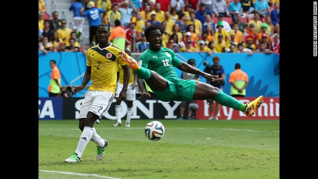 Colombian defender Christian Zapata, left, and Ivory Coast forward Wilfried Bony play in a World Cup match Thursday, June 19, in Brasilia, Brazil. Colombia won the match 2-1.