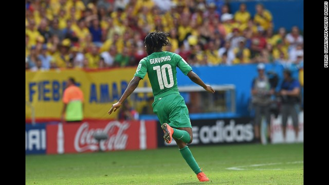 Ivory Coast forward Gervinho celebrates after scoring a goal in the second half.