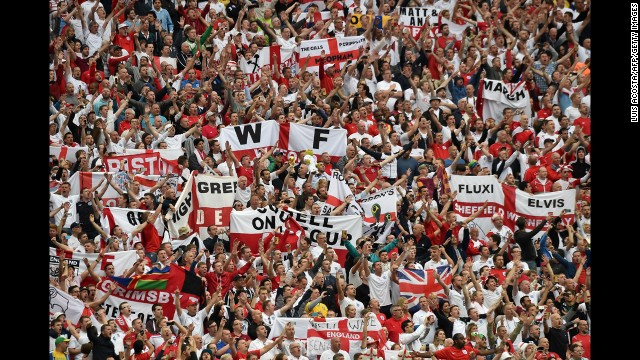 England fans show their support in the stands.