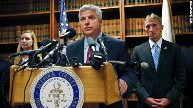 At a press conference on May 15, Suffolk County District Attorney Dan Conley announces that Hernandez has been indicted for the July 2012 killings of de Abreu and Furtado and charged with three counts of armed assault with attempt to murder. Prosecutors allege Hernandez killed de Abreu and Furtado after de Abreu bumped into Hernandez at a nightclub, causing him to spill his drink.