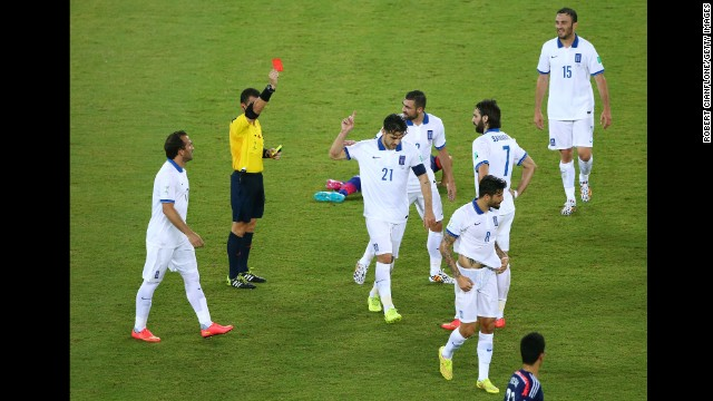 Katsouranis was shown red after a second yellow card from referee Joel Aguilar.
