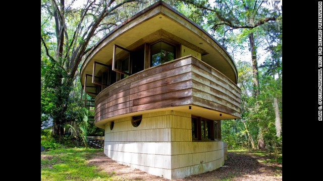 "Florida's only private residence designed by Frank Lloyd Wright, Spring House in Tallahassee was constructed in 1954. Weathered over time, its ""hemicycle"" design is one of the few that have survived."