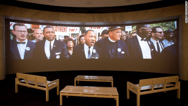 "A movie plays as part of the March on Washington exhibit. See more photos from the 1963 rally, where the Rev. Martin Luther King Jr. delivered his historic ""I Have a Dream"" speech."