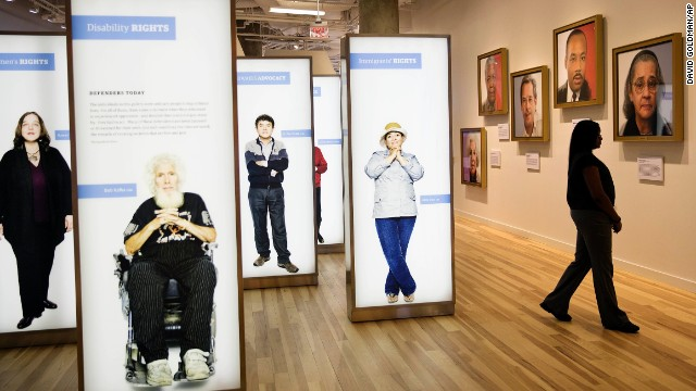 Another exhibit features modern-day defenders of human rights.