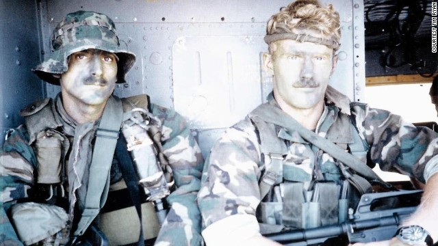 Former pararescueman Brian Stephens, right, with Technical Sgt. Mark Crawford participate in hostage rescue training in 1984 at McClellan Air Force Base in California.