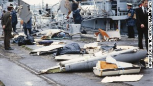 Irish sailors at a navy base in Cork unload debris from Air India Flight 182 that crashed off the coast of Ireland on June 23, 1985.
