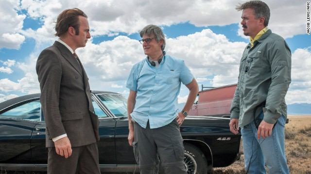 Bob Odenkirk as Saul Goodman, Peter Gould and Vince Gilligan during filming of season one of