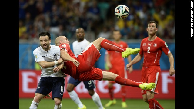 Switzerland midfielder Valentin Stocker kicks the ball.