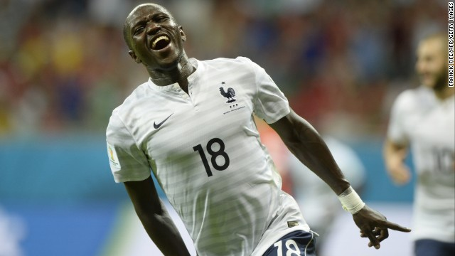 French midfielder Moussa Sissoko celebrates after scoring in the second half. His goal made it 5-0 for France.
