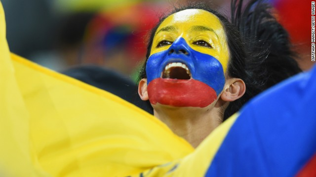 An Ecuador fan enjoys the atmosphere during the match.