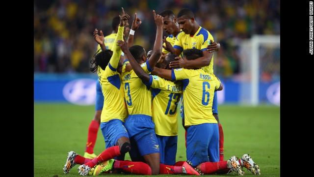 Enner Valencia of Ecuador celebrates with teammates after scoring his team's second goal.