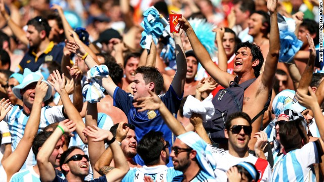 Fans cheer for Argentina. <a href='http://www.cnn.com/2014/06/20/football/gallery/world-cup-0620/index.html'>See the best World Cup photos from June 20.</a>