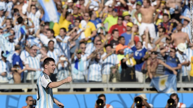 Argentina forward and captain Lionel Messi celebrates after scoring the only goal in Argentina's World Cup victory over Iran on June 21 in Belo Horizonte, Brazil.