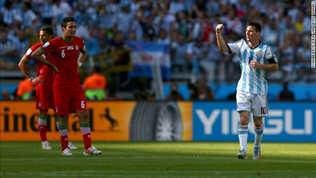 Lionel Messi of Argentina celebrates scoring his team's goal during the World Cup match between Argentina and Iran at Estadio Mineirao in Belo Horizonte, Brazil. Argentina defeated Iran 1-0.