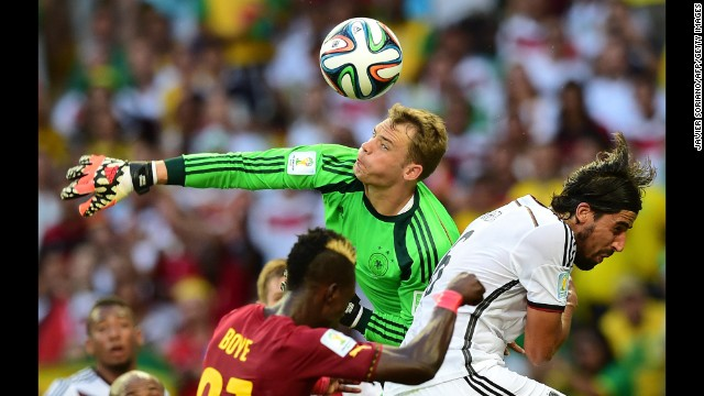 Germany goalkeeper Manuel Neuer makes a save.