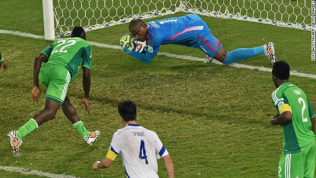 Nigeria goalkeeper Vincent Enyeama makes a save.