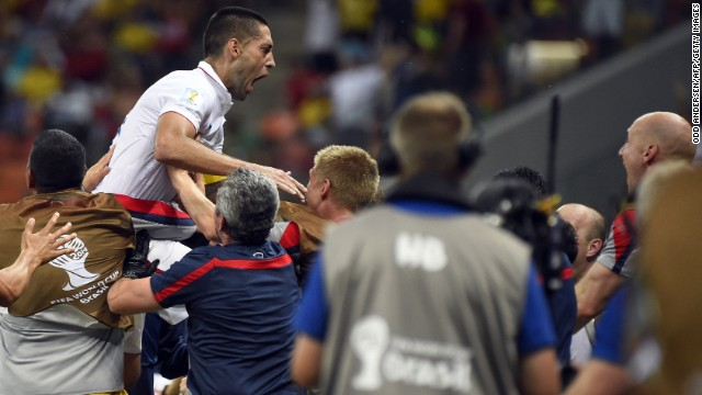 United States forward Clint Dempsey celebrates after scoring his team's second goal. The goal gave the United States a 2-1 lead, but Portugal stormed back to tie the crucial Group G match.