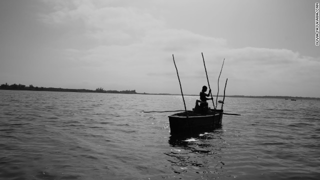 """Fame uses a wooden boat called a """"pirogue"""" -- anything made of metal would rust immediately."""