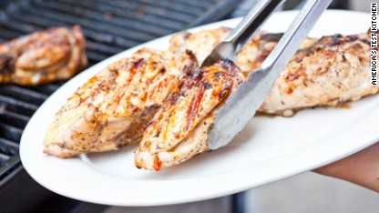 Grilled Bone-In Chicken Breasts with Chipotle-Orange Glaze
