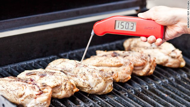 5. Cover grill and continue to cook until instant-read thermometer inserted into thickest part of breast registers 150 degrees, 15 to 25 minutes longer.