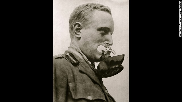 Early gas masks were often ineffectual. The Germans and Americans would ultimately be the most successful in creating barriers to lethal gases. A German soldier shows how to wear one version.