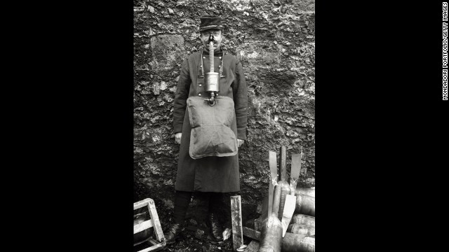 "A soldier demonstrates an ungainly French gas mask. ""French masks were notoriously unreliable,""<a href='http://www.ncbi.nlm.nih.gov/pmc/articles/PMC2376985/' target='_blank'> wrote</a> historian Gerald Fitzgerald."
