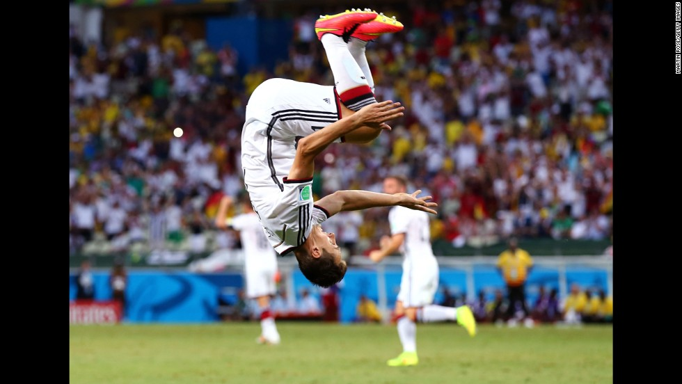 Miroslav Klose of Germany does a flip to celebrate scoring his team's second goal against Ghana during a World Cup match in Fortaleza, Brazil, on Saturday, June 21. The game ended in a 2-2 draw. <a href='http://www.cnn.com/2014/06/12/football/gallery/world-cup-goals/index.html'>See all the goals scored in the World Cup</a>