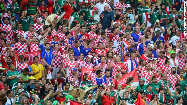 Croatian fans cheer before the match against Mexico.