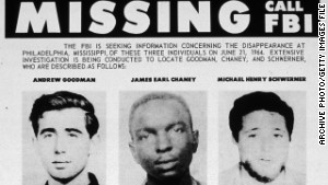 The 1964 FBI flier for the missing civil rights students Andrew Goodman, James Chaney and Michael Schwerner.