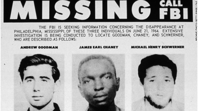 The 1964 FBI bulletin for the missing civil rights students Andrew Goodman, James Chaney and Michael Schwerner.