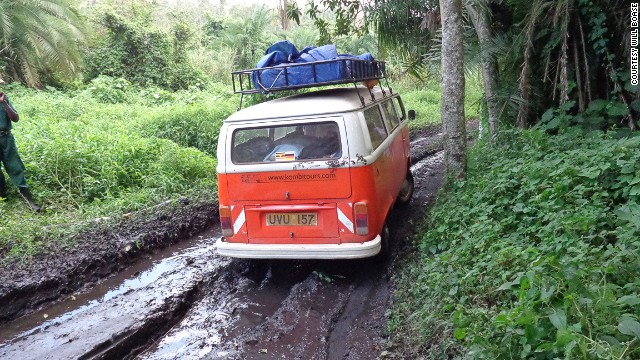"""Many Kombis were used as taxis and buses in Uganda before being retired around 2000 due to the expenses associated with maintenance. """"Children run to them in the village. Old men wave and ... take off their hats!"""" says Landman."""