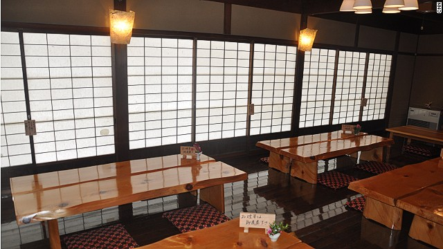 Built in 1658, Kamigoten is a two-story property that was registered as a tangible Japanese cultural asset in 1999. This is the common room, where guests can enjoy tea. Breakfast and dinner is served in the guest rooms.