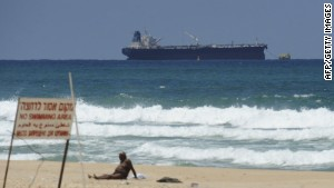 The SCF Altai tanker, carrying crude oil from Iraq\'s Kurdish region, anchors near Ashkelon in southern Israel on Sunday.
