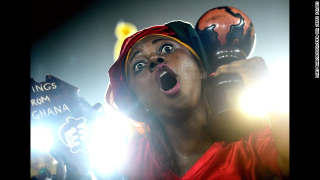 A Ghana fan cheers before the World Cup game between Ghana and the United States in Natal, Brazil, on Monday, June 16. The United States won the game 2-1.