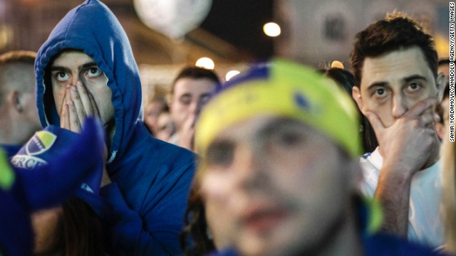 Bosnia-Herzegovina supporters in Sarajevo watch their team play against Nigeria.